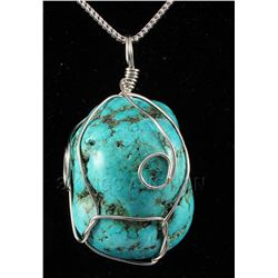NATURAL 255.33CTW TURQUOISE WIRE WRAPPED PENDANT