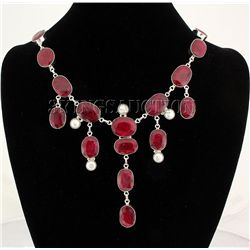 RUBY CORRUNDUM 84.93GRAMS SILVER STATEMENT NECKLACE
