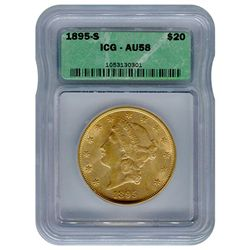 Certified US Gold $20 Liberty 1895-S AU58 ICG