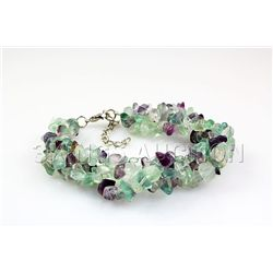 208.42CTW 7in. PURPLE GREEN CHIPPED STONE BRACELET META