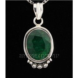 EMERALD BERYL 31.95CTW STERLING SILVER PENDANT