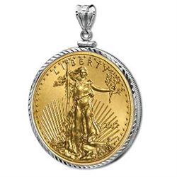 2012 1/2 oz Gold Eagle White Gold Pendant (DiamondScrew