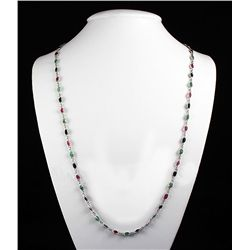 New Design Multi-color 32.68CT Bezel Silver Necklace 8.