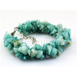 239.01CTW 7in. OCEAN BLUE CHIPPED STONE BRACELET METAL