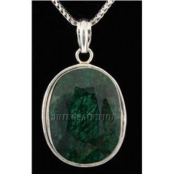 EMERALD BERYL 59.50CTW STERLING SILVER PENDANT