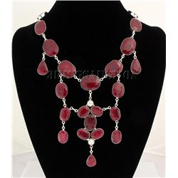 RUBY CORRUNDUM 132.50GRAMS SILVER STATEMENT NECKLACE
