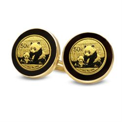 2012 1/20 oz Gold Panda Cuff Links (Onyx Polished) 14KT