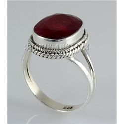 RUBY CORRUNDUM 28.76CTW STERLING SILVER RING