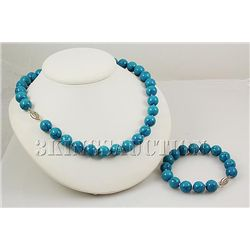 SET OF BLUE TURQUOISE NECKLACE&BRACELET TOTAL 489.27CTW
