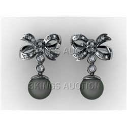 11MM Tahitian South Sea Pearl Diamond Butterfly Earring