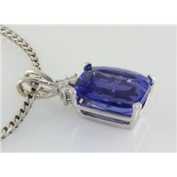14K White Gold Pendant Emerald Cushion Tanzanite Stone