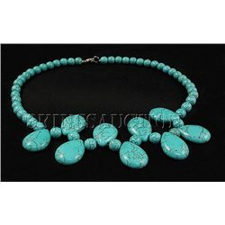 375.14CTW FASHION CHUNKY TURQUOISE NECKLACE