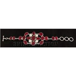 RUBY CORRUNDUM 47.85GRAMS FASHION SILVER BRACELET