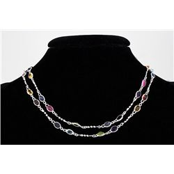 35.10CT Multi Precious Gemstone Silver Bezel Necklace 1