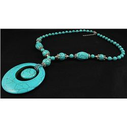 277.08CTW FASHION BEADED TURQUOISE SILVER NECKLACE