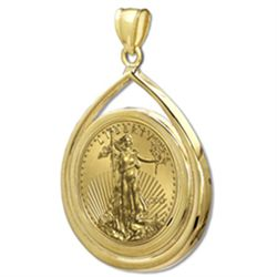 2012 1/2 oz Gold Eagle Teardrop Pendant (Prong Bezel) 1