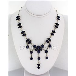 Gorgeous 398.00ctw Tanzanite Cabochons 0.925 Necklace