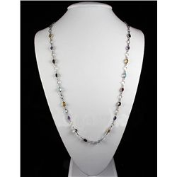 38.60CT Multi Precious Gemstone Silver Bezel Necklace 9