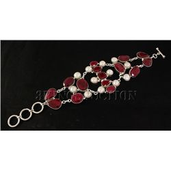 RUBY CORRUNDUM 58.99GRAMS FASHION SILVER BRACELET