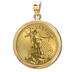 2012 1/4 oz Gold Eagle Pendant (Diamond-Prong Bezel) 14