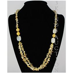 Natural 389.97ctw Yellow Topaz Sterling Silver Necklace