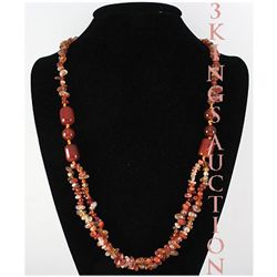 Natural 403.46ctw Orange Carnelian Quartz Silver Neckla