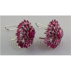 55.45CTW Pretty Pink Ruby Stone in Silver Earring