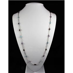 37.55CT Multi Precious Gemstone Silver Bezel Necklace 9