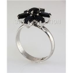 Natural Sapphire 19.06CTW Silver Flower Ring