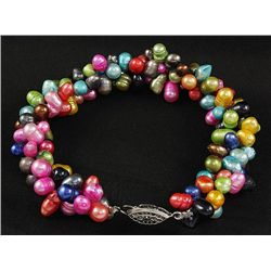 "175.9CTW 7"" MULTICOLOR RICE PEARL BRACELET METAL LOCK"