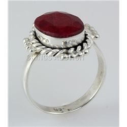 RUBY CORRUNDUM 21.90CTW STERLING SILVER RING
