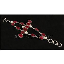 RUBY CORRUNDUM 45.97GRAMS FASHION SILVER BRACELET