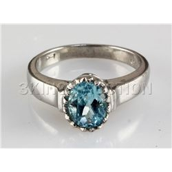 Simple 18.30CTW Oval Blue Zircon Silver Ring