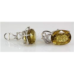 46.18CTW Big Stone Yellow Topaz Silver Earring
