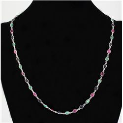 New Design Multi-color 17.10CT Bezel Silver Necklace 7.