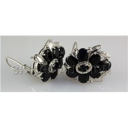 Natural Sapphire 72.04CTW Silver Flower Earring