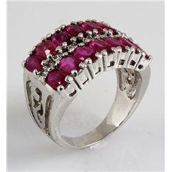 33.63CTW Fashion Pink Ruby Sterling Silver Ring