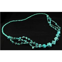 366.08CTW TURQUOISE CHUNKY BLUE BEADED NECKLACE