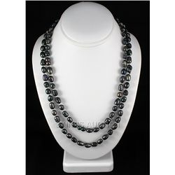"445.49CTW 46"" BLACK LONGSTRAND FRESHWATER PEARL NECKLAC"