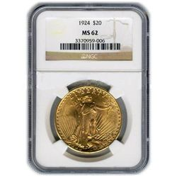 Certified $20 St Gaudens MS62 (Dates Our Choice)