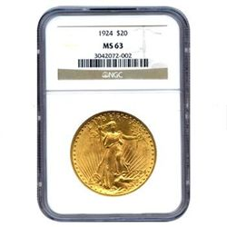 Certified $20 St Gaudens MS63 (Dates Our Choice)