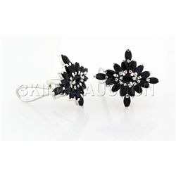 Natural Sapphire 33.13CTW Marquise Cluster Earring