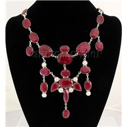 RUBY CORRUNDUM 119.20GRAMS SILVER STATEMENT NECKLACE