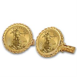 2012 1/10-oz Gold Eagle Cuff Links (Polished Rope) 14KT