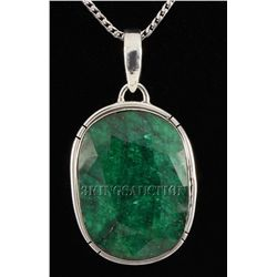 EMERALD BERYL 67.26CTW STERLING SILVER PENDANT