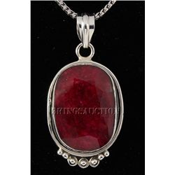 RUBY CORRUNDUM 45.05CTW STERLING SILVER PENDANT