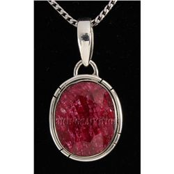 RUBY CORRUNDUM 29.11CTW STERLING SILVER PENDANT
