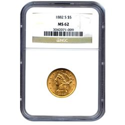 Certified US Gold $5 Liberty MS62