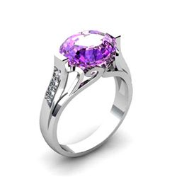 Genuine 4.59 ctw Amethyst Ring 18k W/Y Gold