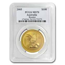 2005 1 oz Gold Year of the Rooster Lunar Coin (S1) PCGS